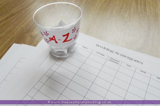 Wedding Scattergories - Games for Bridal Shower or Hen Party / Bachelorette Party at The Purple Pumpkin Blog