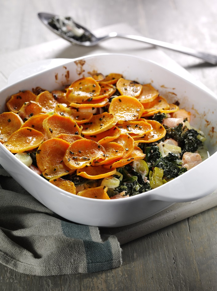 How To Make Salmon, Cavolo Nero And Sweet Potato Gratin