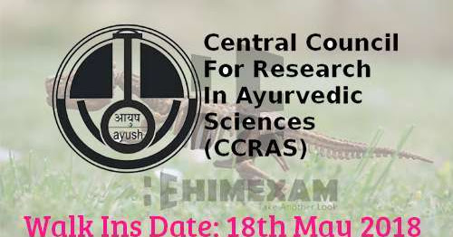CCRAS Mandi Himachal Recruitment for Pharmacist-Walk in on 18th May,2018