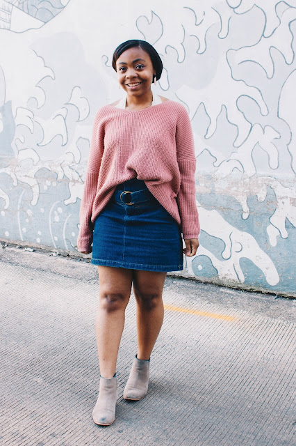 Rose sweater and 90s style denim skirt