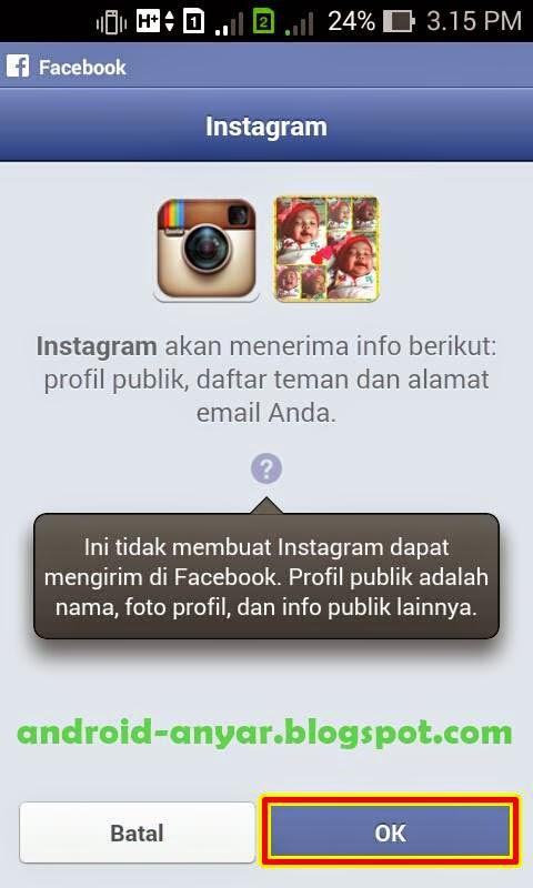 Cara registrasi Instagram dengan Facebook
