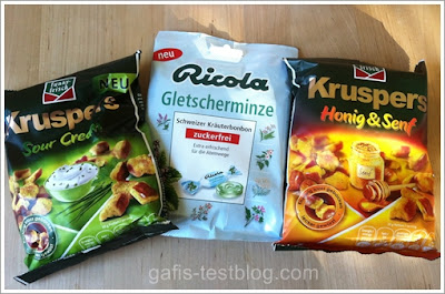 Funny-Frisch Kruspers Sour Cream, Ricola Gletscherminze und Funny-Frisch Kruspers Honig & Senf