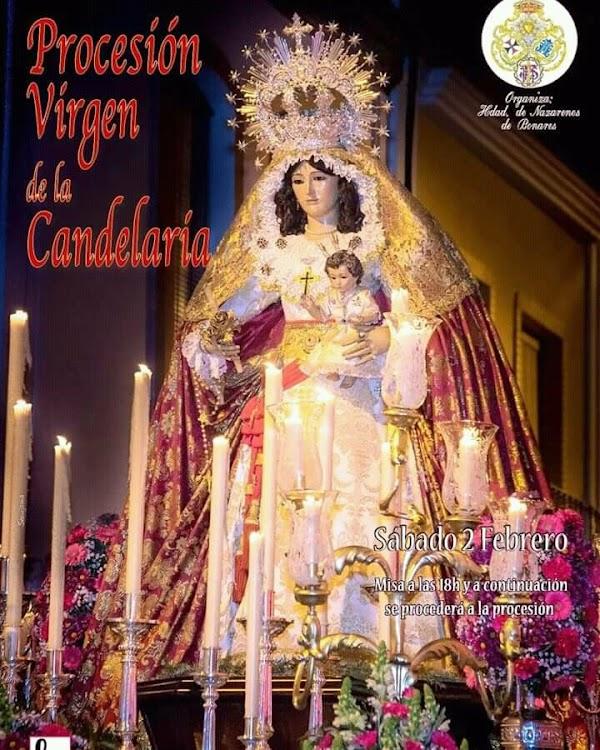 Cartel anunciador de la Procesión de la imagen de Nuestra Señora de la Candelaria de Bonares (Huelva)