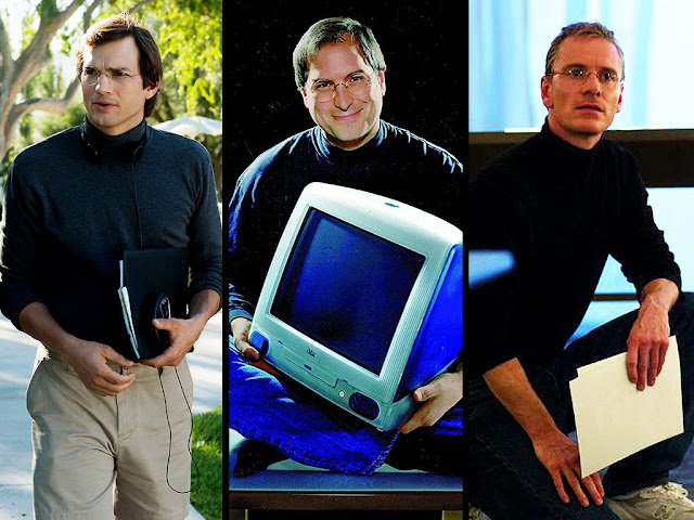 De izquierda a derecha: Ashton Kutcher, Steve Jobs y Michael Fassbender