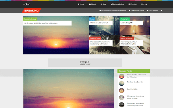 Solar Free Blogger Template