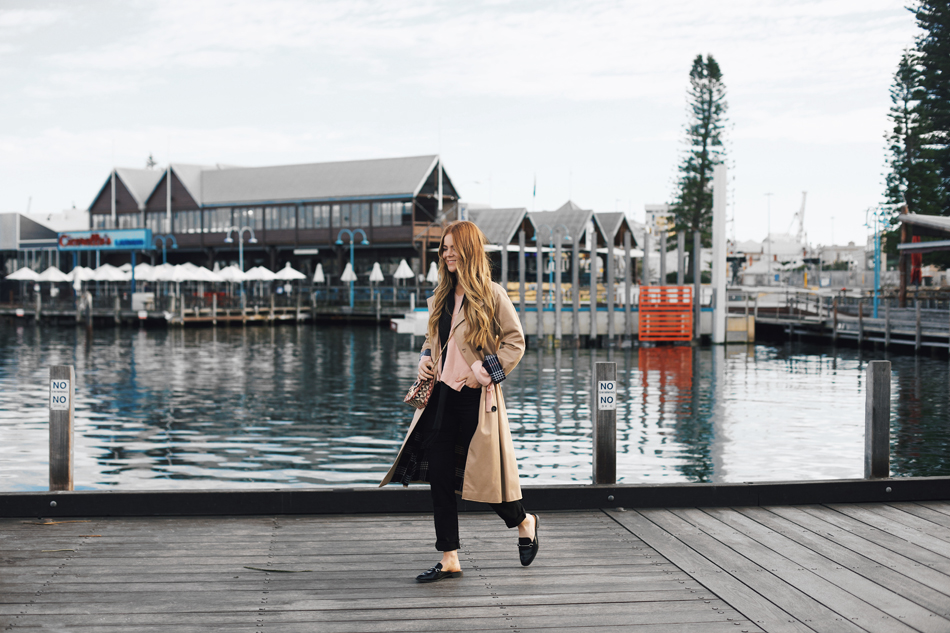winter layering, trench coat style, fremantle, perth, western australia