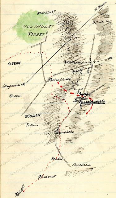 Sketch map by Reverend Birch (5 DLI) of the Passchendaele area, October 1917  (D/DLI 7/63/2(182))