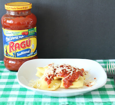 ragu pasta sauce, homemade ravioli, cheese