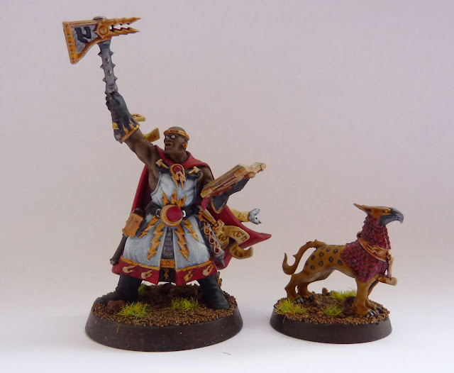Excelsior Warpriest and Gryph-Hound from Warhammer Quest: Silver Tower.