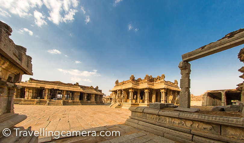 Vithala Temple Complex : The Vittala Temple or Vitthala Temple in Hampi is an ancient monument that is popularly known for its exceptional architecture and heritage . It is considered as one of the largest and the most famous structure in Hampi estate. This beautiful temple of Vitthala is located in the north eastern part of Hampi which is around banks of the Tungabhadra River. The famous stone chariot and the fascinating musical pillars are part of this temple compound, which is surrounded by huge boundary-wall.