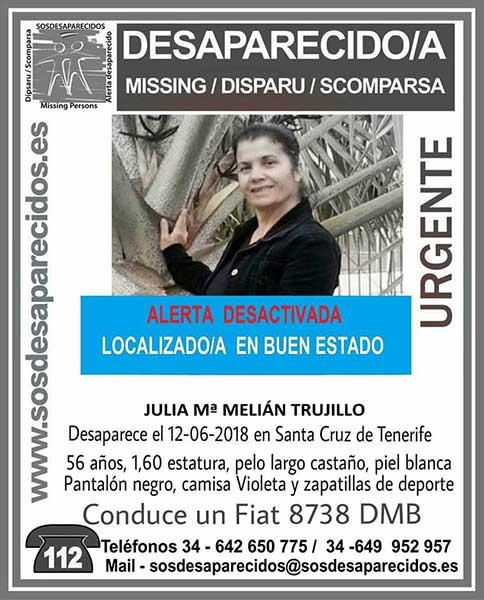Desactivada alerta de búsqueda al aparecer en buen estado, Julia  María Melián Trujillo, que se encontraba como desaparecida en Santa Cruz de Tenerife