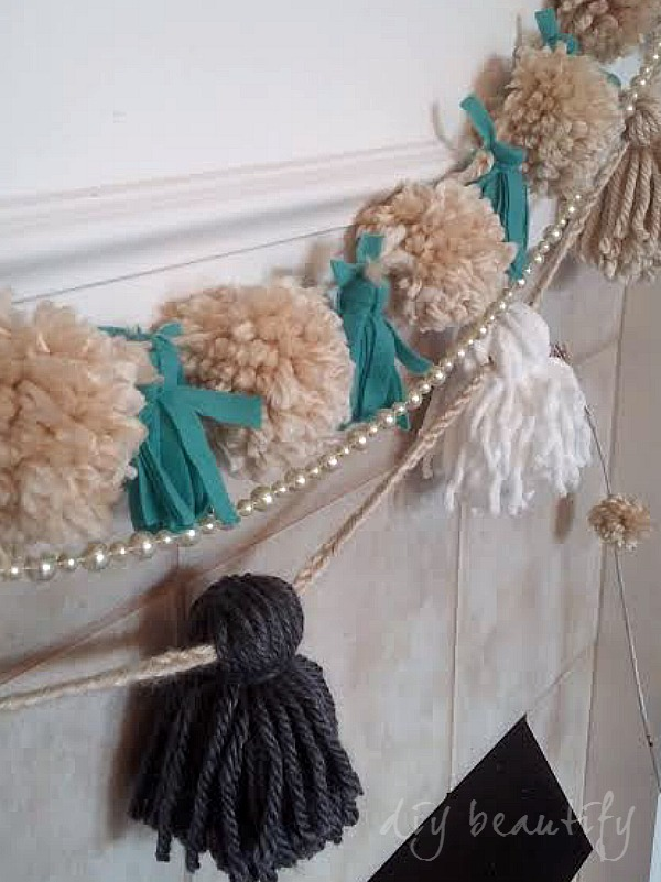 tassels pom poms, pearls make an eye-catching garland