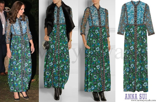 Kate Middleton wore ANNA SUI Printed crinkled silk-chiffon and twill maxi dress