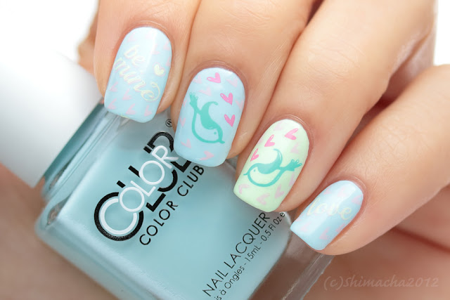 Love Birds Nails, Stamping nail, color club pastel neon