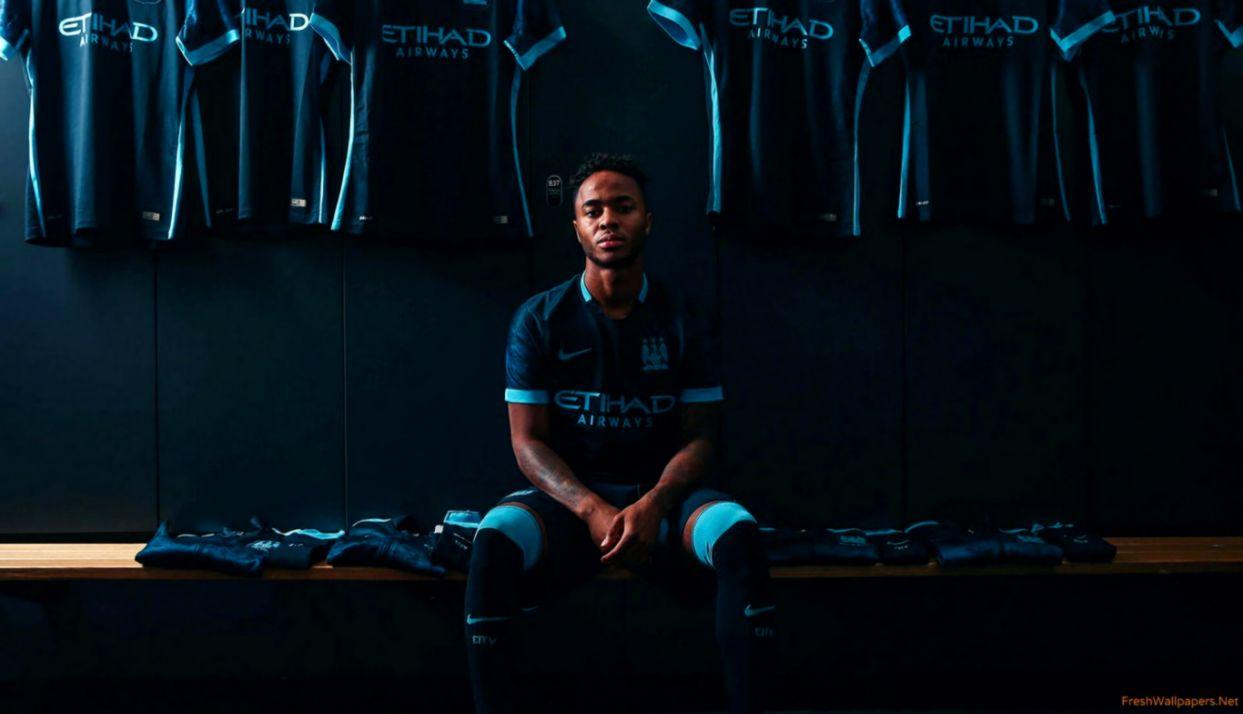 Raheem Sterling Manchester City FC 2015 2016 Nike Away Jersey