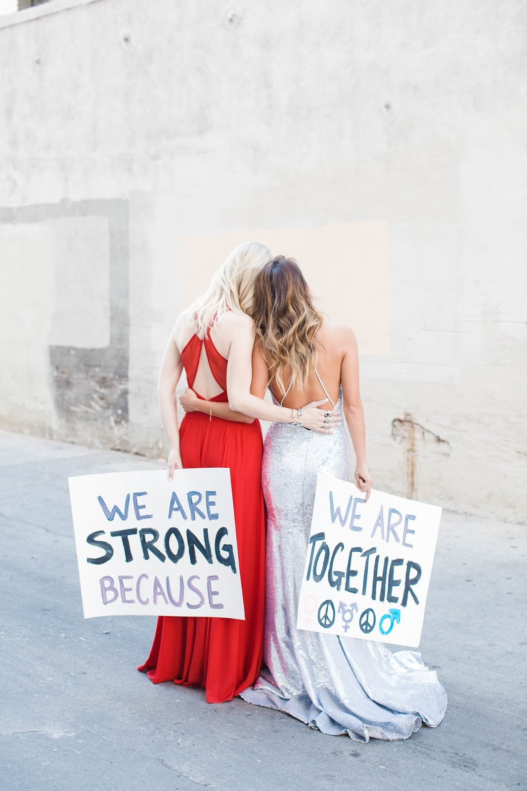 womens march, fame and partners, gowns, glam and gowns