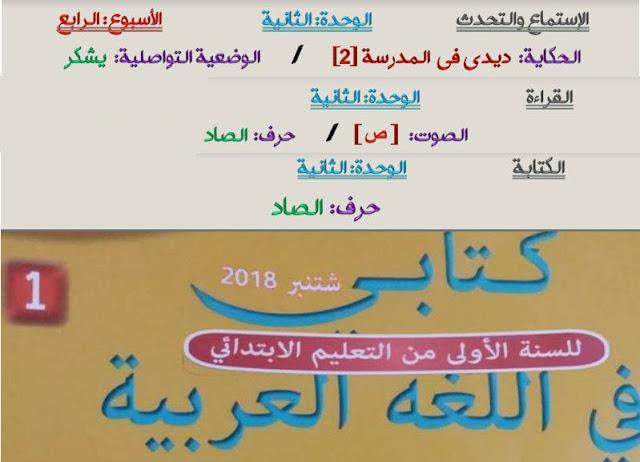 جذاذات الأسبوع الرابع الوحدة الثانية كتابي في اللغة العربية للمستوى الأول ابتدائي