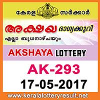 17-05-2017 AKSHAYA Lottery  AK-293  kerala lottery results