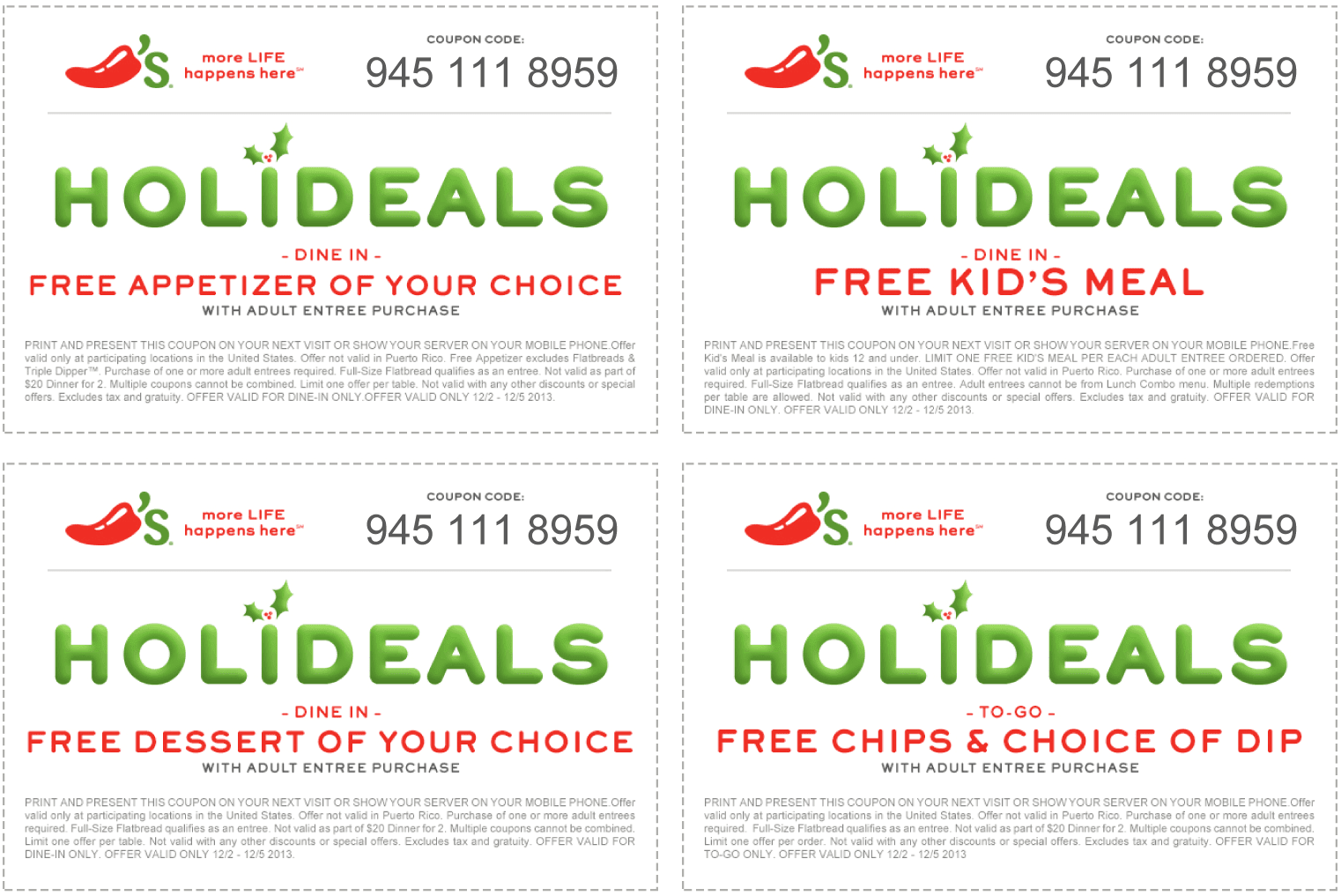 Get Chili's 2 for 20, Chili's 2 for 20 menu at Coupon4all. Save more money with Chili's 2 for Get now!