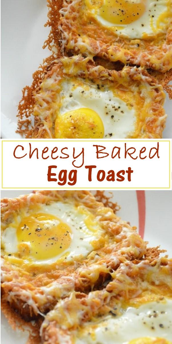 Cheesy Baked Egg Toast #Breakfastrideas