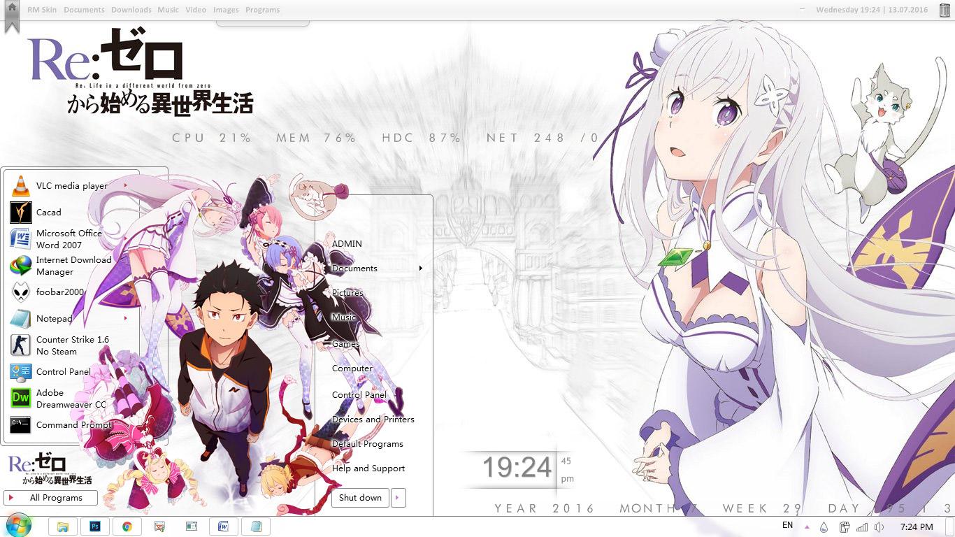 Gmail theme anime - Theme Windows 7 Re Zero Kara Hajimeru Isekai Seikatsu By Bashkara