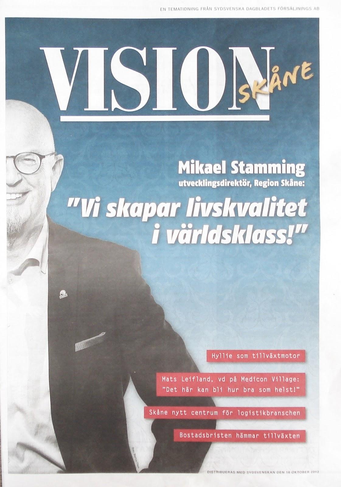 bcf386af127a En del fångar läsaren, men de flesta åker direkt till returpapper. I förra  veckan ramlade något som heter Vision Skåne ur Sydsvenskan.