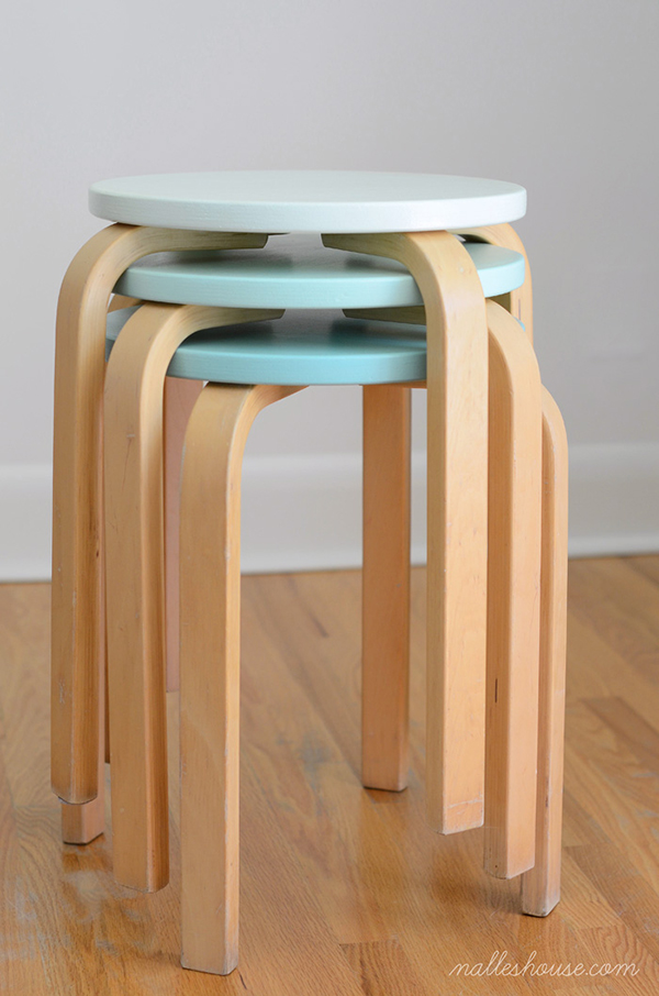 Custom painted ikea stools -  If you loved painted furniture or are thinking about using Chalk paint on furniture for the first time then you should check this post full of 25 incredible makeoevers. 25 Fabulous painted furniture ideas!