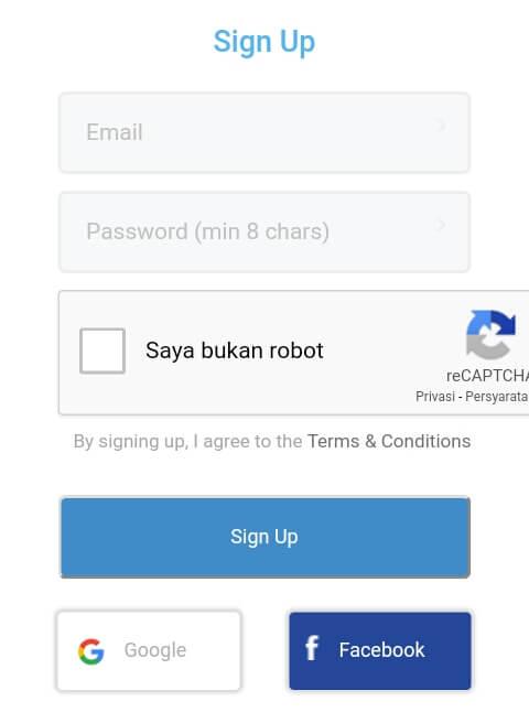 silahkan mendaftar / membuat akun dengan cara mengisi formulir pendaftaran atau langsung Masuk melalui akun Google/Facebook dan ikuti petunjuk selanjutnya.