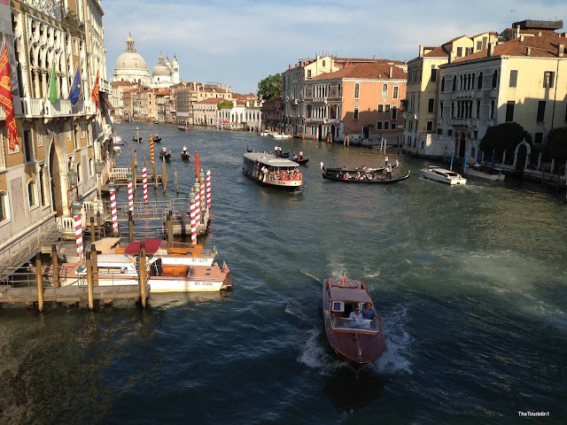 Italy, Venice, view over canal in Venice, boat