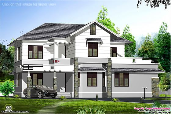 sloping roof villa design