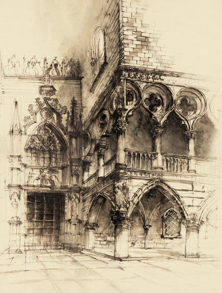 02-Venice-Elwira-Pawlikowska-Gothic-and-Steampunk-style-Architecture-with-Ink-and-Watercolor-Illustrations-www-designstack-co