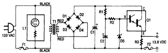 13.8Vdc 2A Regulated Power Supply Circuit Diagram