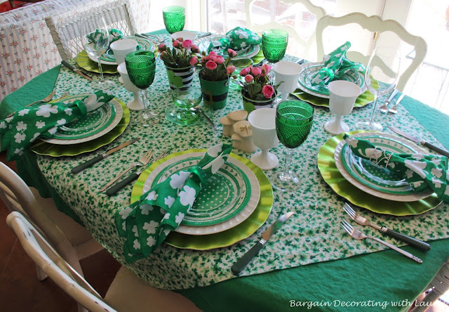 St Patricks Tablescape-Bargain Decorating with Laurie