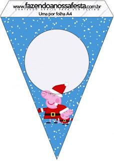 Banderines de Peppa Pig en Navidad para imprimir gratis.