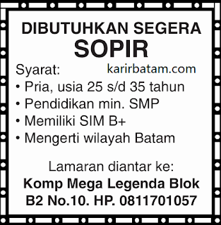 Lowongan Kerja Sopir di Batam (Minimal SIM B)
