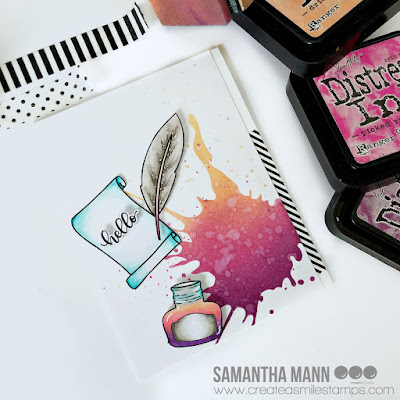Ink and Quill Hello Card by Samantha Mann for Create a Smile Stamps, Stencil, distress inks, Ink Blending, Just Because, Hello, Cards, Handmade Cards, Cardmaking #ink #quill #stamps #createasmile #cards #inkblending