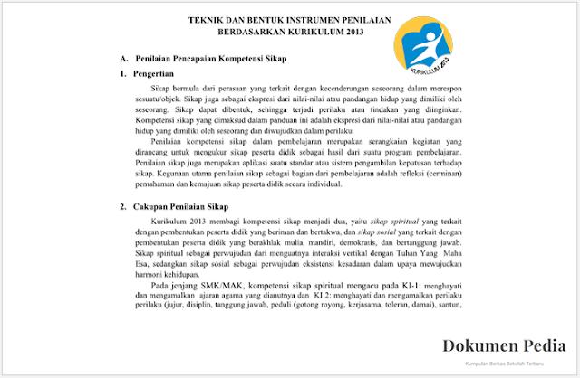 Download Aplikasi Teknik Bentuk Instrumen Dan Rubuk Penilaian Sikap Kurikulum 2013