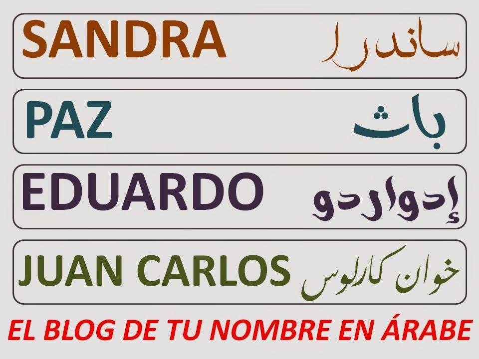 NOMBRES EN LETRAS ARABES SANDRA PAZ EDUARDO JUAN CARLOS