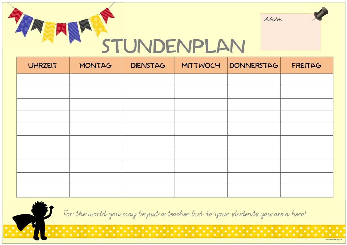 Schön Stundenplan Planer Vorlage Bilder - Beispiel Business ...