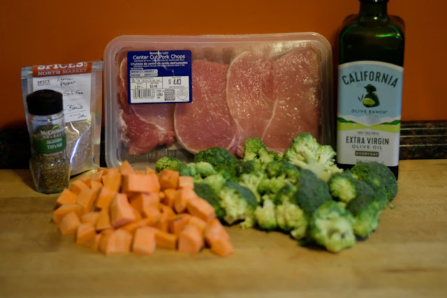 The ingredients needed for the Easy Pork Chop Sheet Pan Meal Recipe.