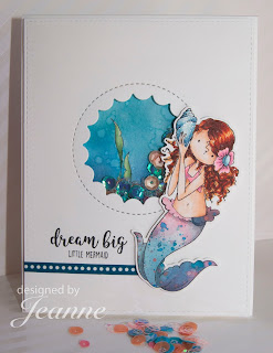 Paper piecing, Stamping Bella, Mermaid, Distress Oxide