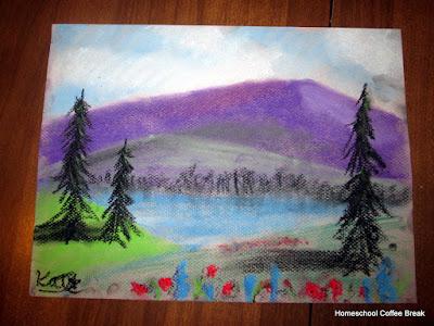 Mountain Lake on the Virtual Refrigerator art link-up hosted by Homeschool Coffee Break @ kympossibleblog.blogspot.com #art  #VirtualFridge