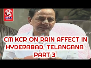 CM KCR Press Meet | Review On Rain Affect In Hyderabad, Telangana | Part-3
