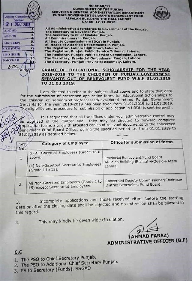 GRANT OF EDUCATIONAL SCHOLARSHIP TO THE CHILDREN OF PUNJAB GOVERNMENT SERVANTS OUT OF BENEVOLENT FUND