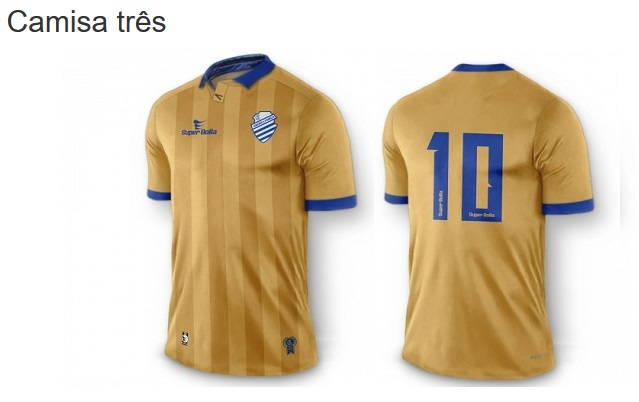 d38ef49d5274b Finas listras em um tom mais escuro do dourado cortam o uniforme na  vertical. A camisa possui punhos na cor azul ...