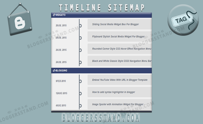 How To Add Timeline Style Sitemap Widget In Blogger BloggersStand - Timeline blogger template