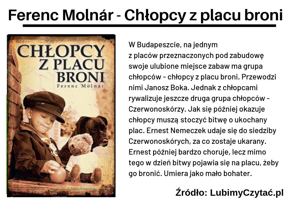 Ferenc Molnár, Chłopcy z placu broni, TOP 10, Marzenie Literackie