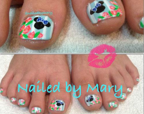 Lindisima Blog Uñas De Pies Decoradas Con Minnie Y Micky Mouse