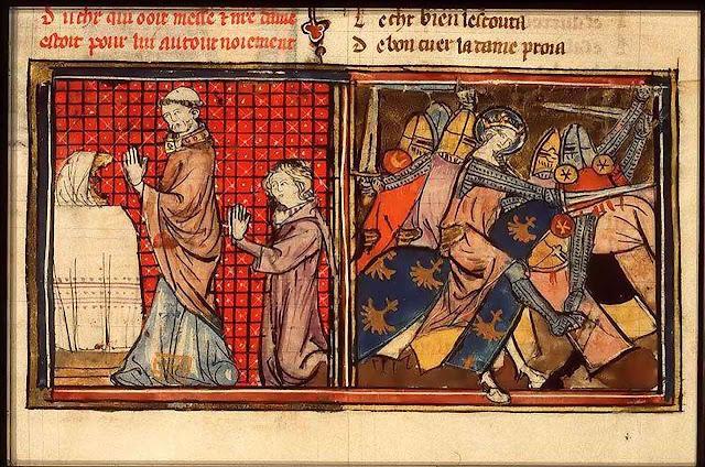 Antes das lides, o cavaleiro assiste a Missa. Os Milagres de Notre Dame (KB 71 A 24, fol. 123r).