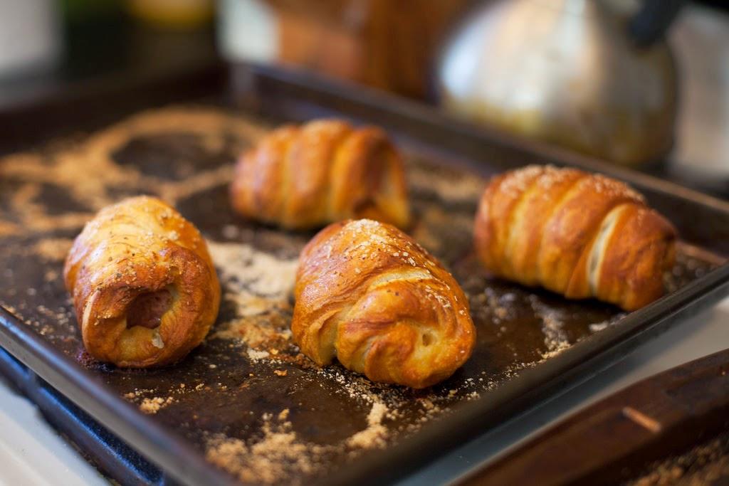 Homemade Pretzel-Wrapped Sausages